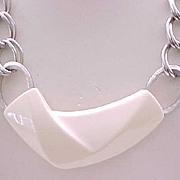 Spectacular MOD Trifari Necklace - Cream Lucite, Silvertone Metal