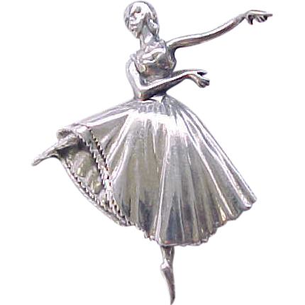 Graceful Sterling Silver Ballet Pin By Lang From Rivertowngal On Ruby Lane