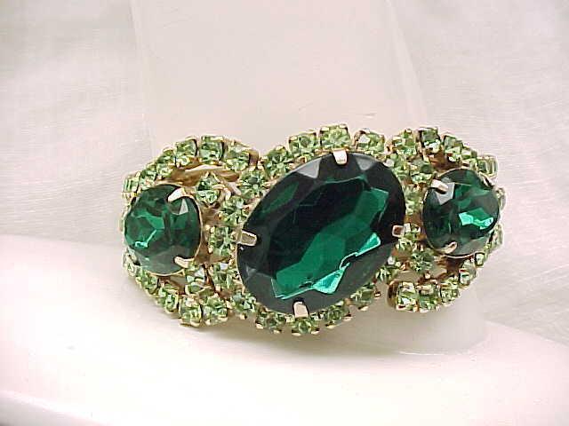 Elegant Rhinestone Clamper Bracelet with Large Earrings - Green, Peridot