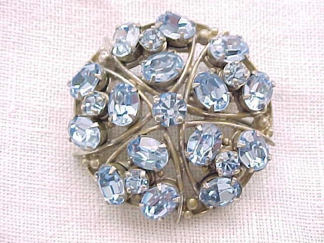 10 - Exceptional Ice Blue Rhinestone Pin