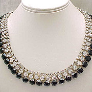 Impressive Rhinestone Necklace, Earrings - Diamante & Black Stones