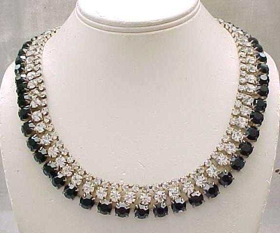 04 - Impressive Rhinestone Necklace, Earrings - Diamante & Black Stones