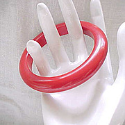 Chunky Red Bakelite Bracelet Bangle