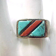 Native American Sterling, Turquoise & Coral Ring - Size 9