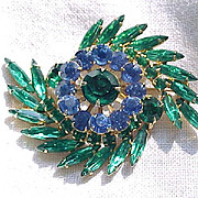 Blue and Green Rhinestone Brooch and Earrings