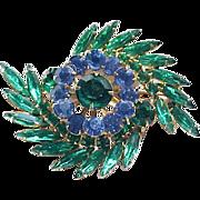 Blue and Green Rhinestone Brooch and Earrings