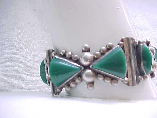 Gorgeous Sterling & Green Onyx Bracelet - Chunky, Signed ACE