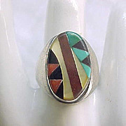 Zuni Inlaid Ring - Sterling, Turquoise, Coral - Size 8 3/4