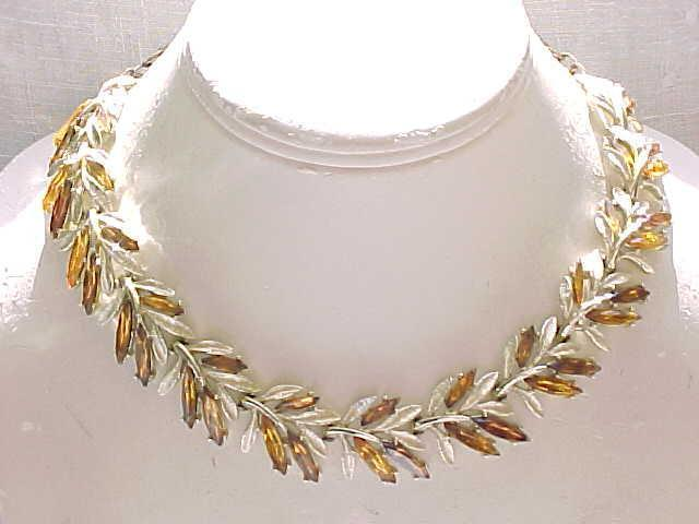 ART Parure - Amber Rhinestones, Necklace, Bracelet, Earrings