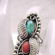 12 - Outstanding Native American Sterling, Turquoise, Coral Ring - Size 7