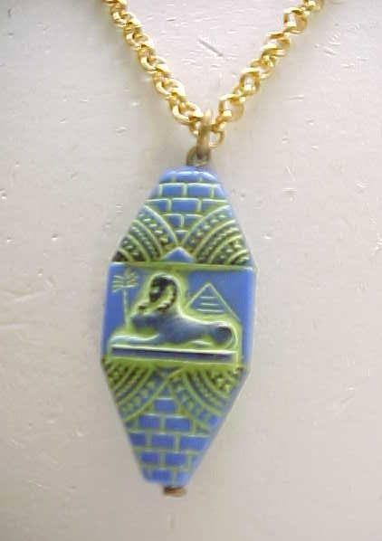 Czech Egyptian Revival Sphinx Pendant Necklace