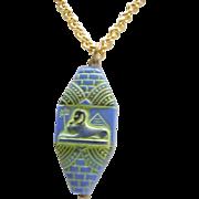 Czech Egyptian Revival Sphinx Pendant Necklace