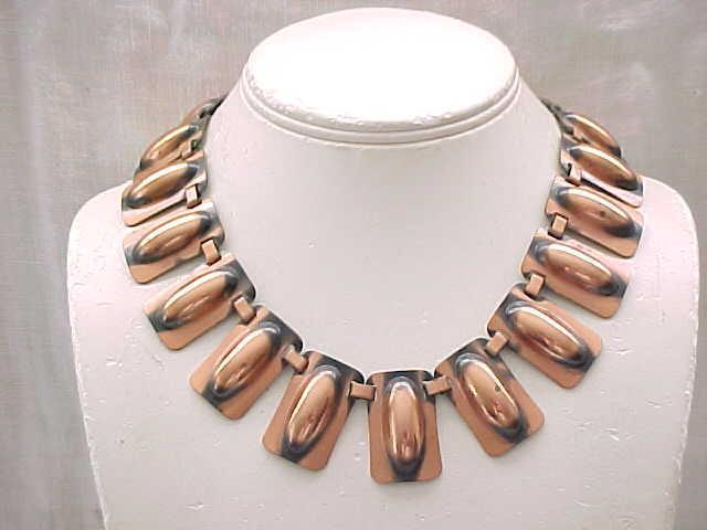 Chunky Renoir Copper Necklace and Bracelet, Signed
