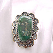 Native American Sterling Ring - Large Figured Green Stone, Detailed - Size 7