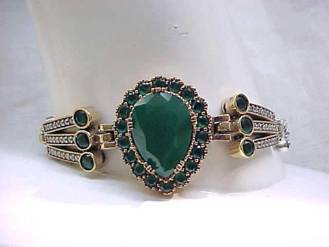 Superb Sterling Bracelet with Green and Diamante Rhinestones