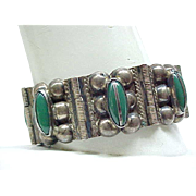 Excellent Sterling and Green Onyx Bracelet - Signed