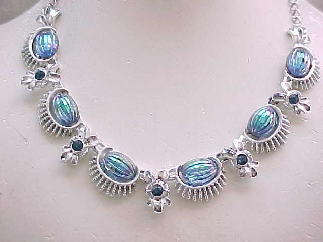 12 - Lovely Necklace Iridescent Molded Glass , Sapphire Blue Rhinestones