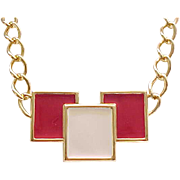 Stunning Red and Cream Enamel Monet Necklace