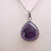 Teardrop Amethyst Pendant - Sterling Silver Setting and Chain