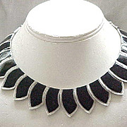 Fab Les Bernard Black Enamel Collar Necklace, Silvertone Metal