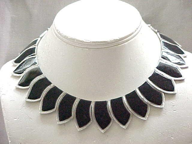 01 - Fab Les Bernard Black Enamel Collar Necklace, Silvertone Metal