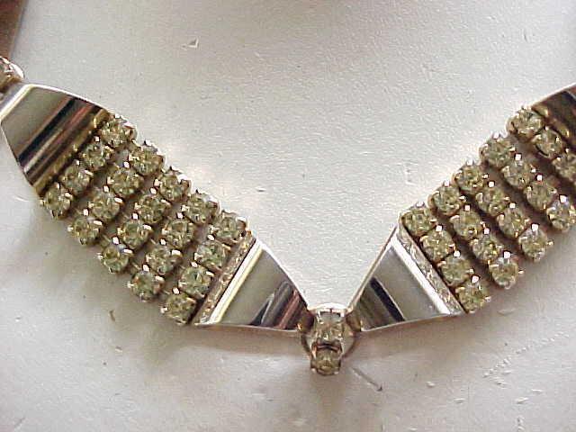 02 - Chic Retro Parure - Necklace, Bracelet, Earrings - Citrine Rhinestones