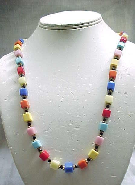 02 - Pretty Multi Color Czech Necklace with Square Beads