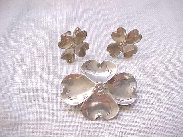 Nye Sterling Silver Dogwood Pin and Earrings