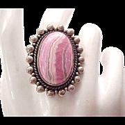 Sterling Ring - Pinkish Stone - Rhodochrosite - Size 7 3/4