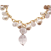Long Chunky Necklace - Lucite Drops, Glass Crystals, Faux Pearls