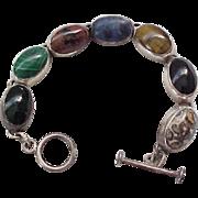 Super Nice Sterling Bracelet with Natural Stones