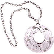 Huge Trifari Silvertone Pendant Necklace - Fanciful Design