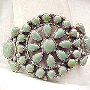 Awesome Native American Squash Blossom Bracelet - Sterling and Green Turquoise