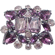 Impressive Purple Rhinestone Brooch/Pin - Runway Worthy
