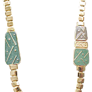 Cool Trifari Necklace, Earrings - Green Enamel, Goldtone