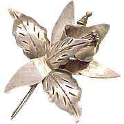 Large Sterling Silver Calla Lily Pin - Taxco