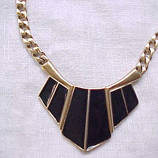 Pretty Trifari Black Enamel Necklace, Earrings