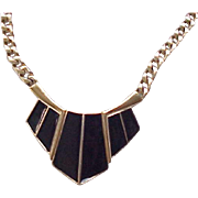 Pretty Trifari Black Enamel Necklace, Earrings