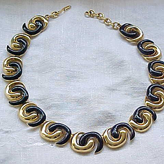 Monet Necklace - Navy Blue Enamel Swirls