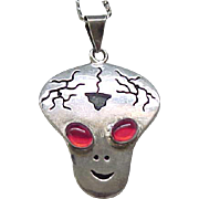Incredible Sterling Silver Alien Pendant Necklace - Native American from Roswell, NM
