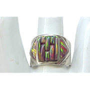 Eye Catching Boulder Opal Sterling Ring - Size 10 1/2