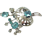 06 - Lovely Gold Filled Retro Pin with Aqua Rhinestones