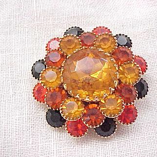 Distinctive Layered Rhinestone Pin Earth Colors - Amber, Orange, Black