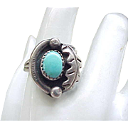 Native American Sterling and Turquoise Ring - Size 8 1/4