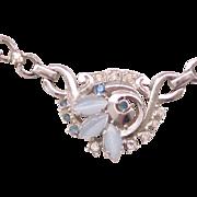 06 - Pretty Lustern Necklace Blue Glass Moonstones, Rhinestones