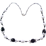 Black and White Czech Necklace - All Glass Beads