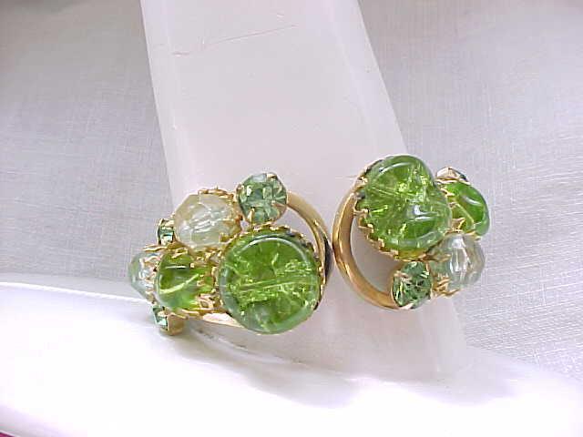 11 - Green Art Glass Clamper Bracelet with Clip Earrings