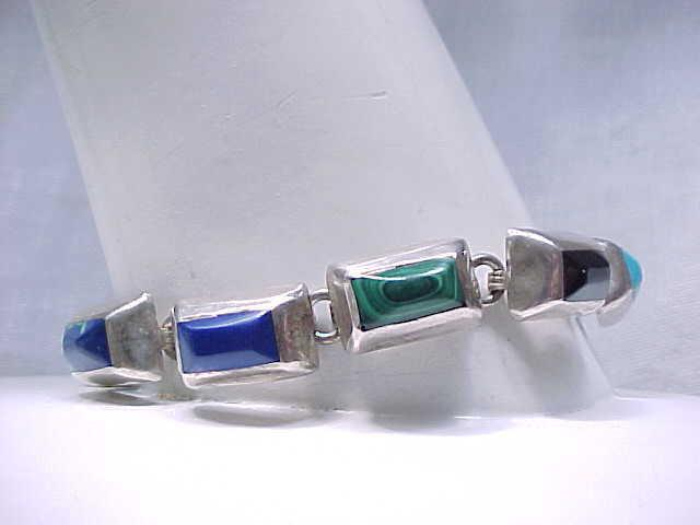 Sterling Silver Bracelet with Turquoise, Onyx, Malachite, Lapis