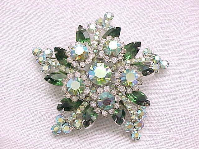03 - Spectacular Juliana Star Shaped Rhinestone Brooch,  Earrings