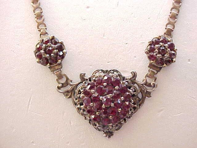01 - Stunning 1940's Red Rhinestone Necklace